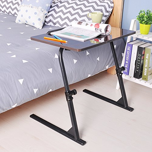 SogesHome 80x40cm Laptop Stand Adjustable Computer Standing Desk Portable Side Table for Bed Sofa Hospital Reading Eating, Black,S1-2BK-SH-01