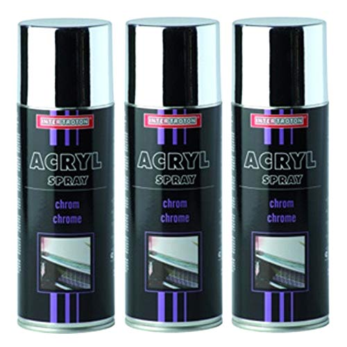 Troton CHROMESPRAY 3 x 400ml Spray Chrome Silber SPRÜHLACK CHROMEFARBE CHROMSPRAY CHROMLACK AUTOLACK EFFEKTSPRAY