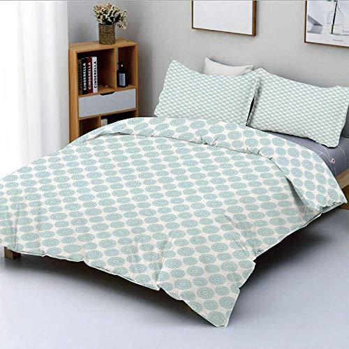 Juego de funda nórdica, formas elípticas con símbolos en forma de estrella en el interior, patrón de cadena ondulada en negrita Juego de cama decorativo de 3 piezas con 2 fundas de almohada, azul clar