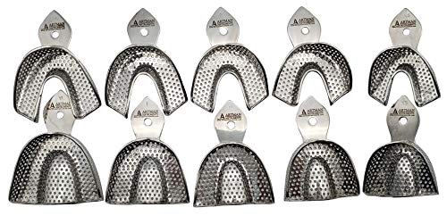 Dental Impression Trays 10 Extra Small, Small, Medium, Large and Extra Large Pairs Stainless Steel dentures Orthodontics by Wise Linkers USA
