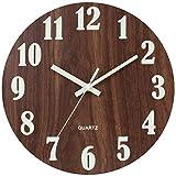 JoFomp 天然木 掛け時計 連続秒針 夜光 壁掛け時計 電池式 静音 サイレント 木掛け鐘 おしゃれなインテリア時計 直径約30cm