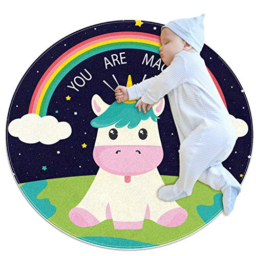 HDFGD Alfombra redonda antideslizante para niños, circular, lavable a máquina, divertido unicornio vaca arco iris eres mágico