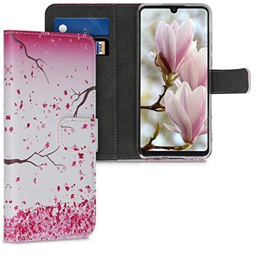 Preisvergleich Produktbild kwmobile Hülle kompatibel mit Huawei P30 Lite - Kunstleder Wallet Case mit Kartenfächern Stand Kirschblütenblätter Rosa Dunkelbraun Weiß