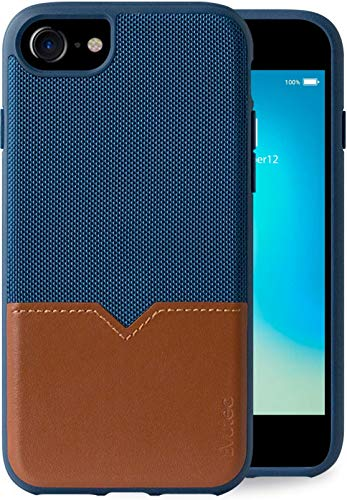 Evutec Compatible with iPhone 6/6s/7/8/SE(2020) Unique Heavy Duty Case Premium Leather + TPU Shockproof Interior Drop Protective Phone Cover - Blue/Saddle (AFIX+ Vent Mount Included)