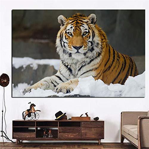 HSFFBHFBH Impresión en Lienzo Moderno Jungla Salvaje Tigre Paisaje Pintura Arte Animal Cuadro de Pared para Sala de Estar sofá decoración Moderna 60x100 cm Marco Interior