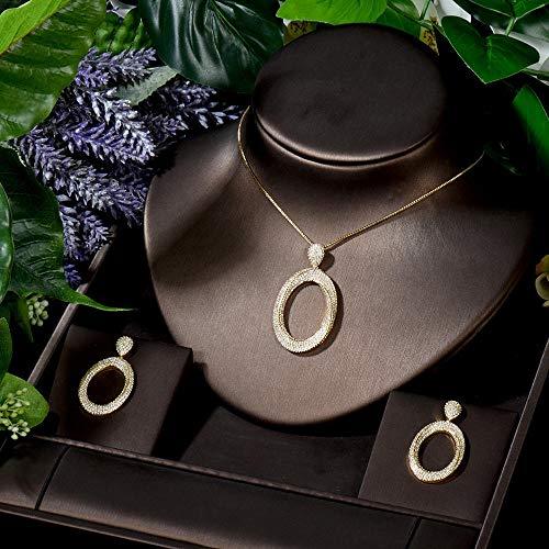 FWJSDPZ Conjunto de joyería de boda para mujer pequeña con colgante de círculo, collar y pendientes (color: dorado)
