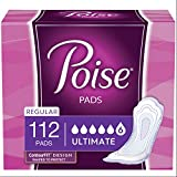 Poise Incontinence Pads, Ultimate Absorbency, Regular Length, 112 Count (2 Packs of 56) (Packaging May Vary)