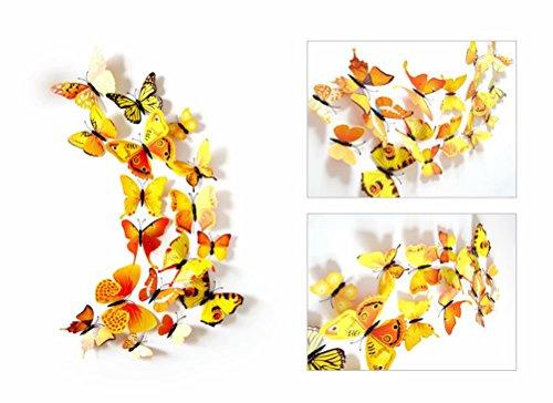 UK DEALS Mur Papillon 3D Autocollants 1 - Pack: 12 pcs 1 Jaune