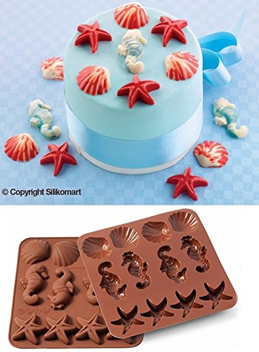 Wonder Cakes by Silikomart 22.507.77.0069 Moule en Silicone, Thème Sealife, Marron, 1,2 x 15,5 x 16,3 cm