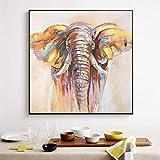 RTAGBFND Pintura al óleo abstracta del elefante de la acuarela en carteles e impresiones de la lona Cuadros del arte de la pared para la decoración del hogar de la sala de estar -60x60cm Sin marco