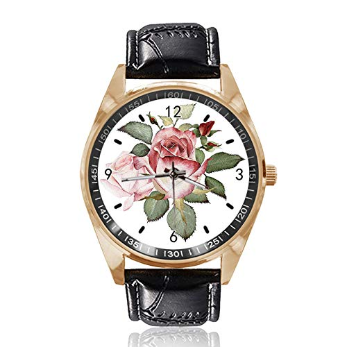 Armbanduhr mit Rosen- und Blätter-Design, analog, Quarz, goldfarbenes Zifferblatt, klassisches Lederband für Damen und Herren
