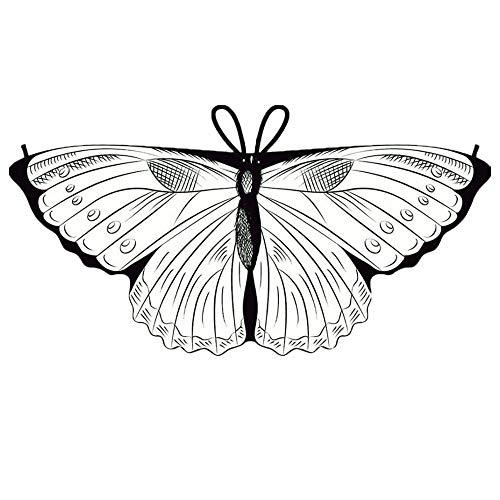 Preisvergleich Produktbild YWLINK Kind Bunt Chiffon Karneval Schmetterling Flügel Creative Manuell DIY Graffiti Schal Jungen MäDchen Cosplay ZubehöR Weihnachten Halloween FlüGel Umhang HüBsch(118x48CM, D)