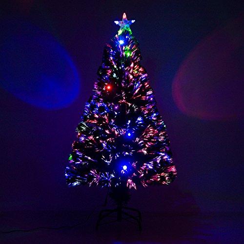 HOMCOM Sapin de Noël Artificiel Lumineux Fibre Optique LED Multicolore + Support Pied Ø 60 x 120H cm 130 Branches étoile Sommet Brillante Vert