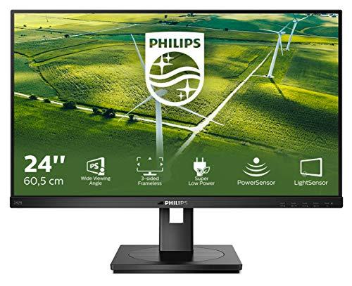 Philips 242B1G - 24 Zoll FHD Green Monitor, höhenverstellbar (1920x1080, 75 Hz, VGA, DVI, HDMI, DisplayPort, USB Hub) schwarz