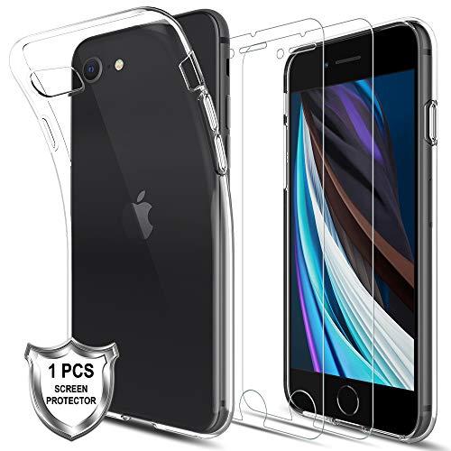 LK Hülle für iPhone SE 2020 [1 TPU Hülle + 2 Stück Panzerglasfolie], [Anti-Kratzen] 9H Härte HD Klar Displayschutzfolie, Flex Silikon TPU Schutzhülle Case Cover für iPhone SE 2020 - Transparent