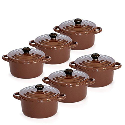 Hobby Tech - Lot de 6 Minis cocottes double poignées avec couvercle - Marron