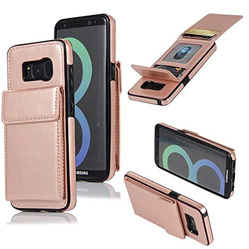 Galaxy S8 Hülle, SONWO Premium PU Ledertasche Ultra Dünne Rückschale Stoßfest Schutzhülle mit mit Kartenhalter kompatibel für Samsung Galaxy S8, Rose Gold