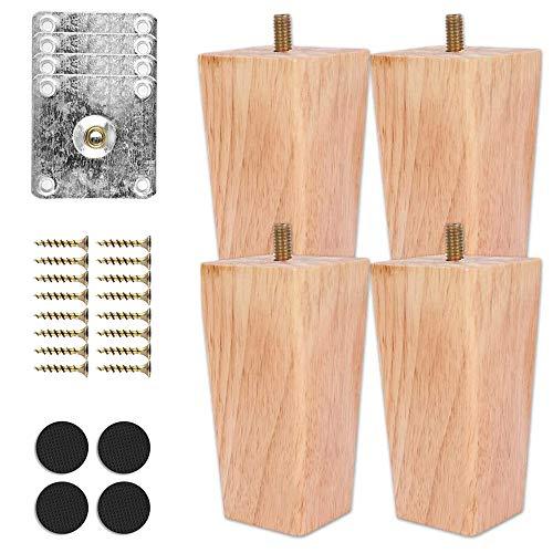 4 Stück Holz Sofafüße 10cm Holz Möbelfüße Aus Holz Tischbeine Massivholz Konisch Ersatz Möbelbeine Sofabeine M8 Schraubenbolzen für Sofa Schrank und Bett mit Schrauben