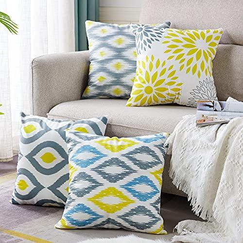 AllmarkHomes funda cojin Fundas de cojínes fundas almohadones decoracion sofá cama y cojines juego de cojines de terciopelo,45x45cm,Amarillo