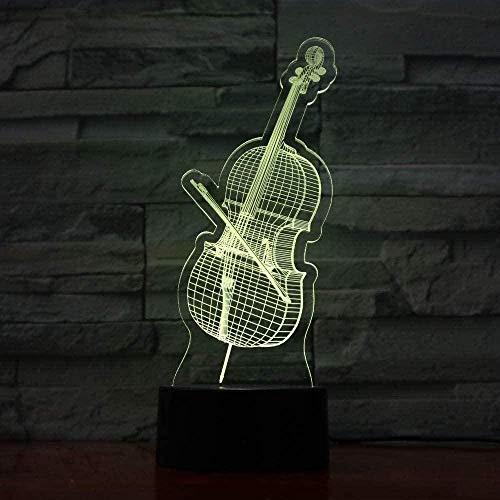 3D Luz De Noche Led LED Lámpara de Escritorio Music guitar violin ideal como regalo de cumpleaños para niños, niños y hombres Con interfaz USB, cambio de color colorido