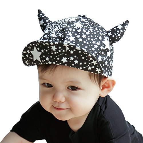 ZHANGYAN Sombrero de Sol para niños Gorras de béisbol de bebé, Sombreros de Sol, Sombreros de Cuerno Lindo con persianas de Sol (Color : Black, Size : 40-48cm/15.7-18.8in)