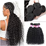 Brazilian Remy Human Hair Bundles Water Curly Human Hair Bundles Malaysian Water Wave Hair Bundles Curly Hair Extensions Human Hair Unprocessed Bundles Deep Wet and Wavy Bundles Grade 10A Can Be Dyed