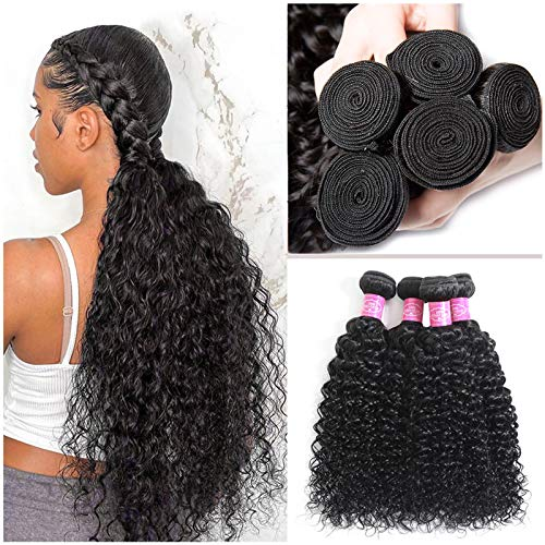 Water Wave Human Hair Bundles 100% Human Hair Wet and Wavy Curly Weave Human Hair Bundles Brazilian Hair Bundles Unprocessed Remy Curly Hair 3 Bundles Wet and Wavy Human Hair Bundles Weave