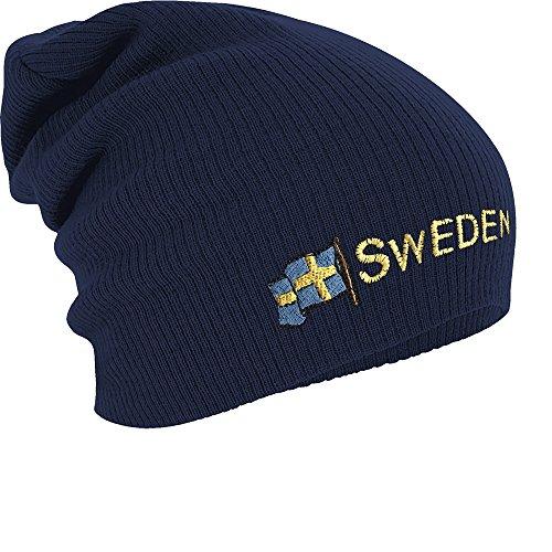 Fan-O-Menal Textilien Longbeanie Slouch-Beanie Mütze Schweden mit Fahne 54598 Farbe Navy