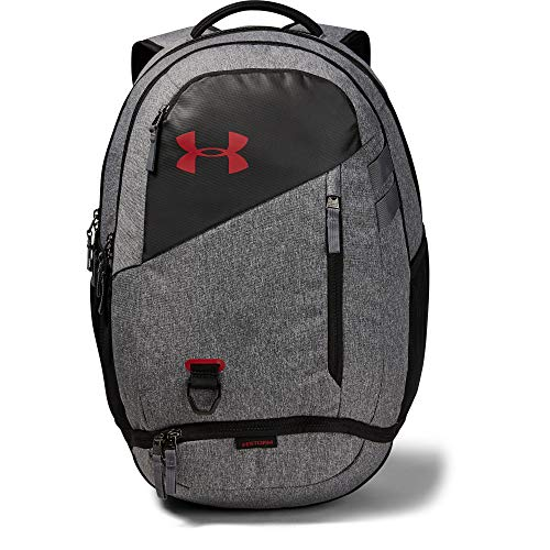 Under Armour unisex-adult Hustle 4.0 Backpack, Graphite (041)/Stadium Red, One Size Fits All