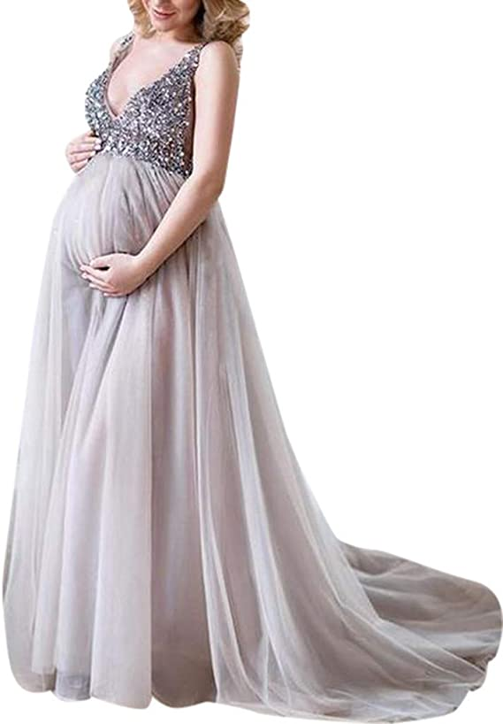 Womens Long Maternity Dress V Neck Short Sleeve Sequined Splice Gown Photography Maxi Dress