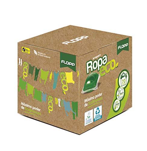 Flopp - Detergente Ecológico en Cápsulas para la Ropa, Estuche 70 Cápsulas | Detergente Eco para Lavadoras Ropa Blanca y Color. Detergente Lavadora, Limpia sin ensuciar el Planeta.