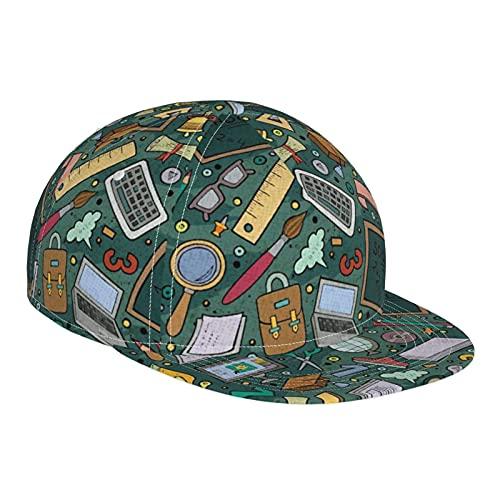 ZORIN Sombrero de béisbol para hombres y mujeres lindo patrón de aprendizaje herramienta de ala plana sombreros de sol negro ajustable Snapback Caps Dad Trucker Cap