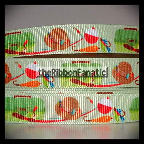 """3 Yds 5/8"""" Gone Fishing Tackle Box Lures Pole Hat Grosgrain Ribbon Lace Trim Embroidery Applique Fabric Delicate DIY Art Craft Supply for Scrapbooking Gift Wrapping"""