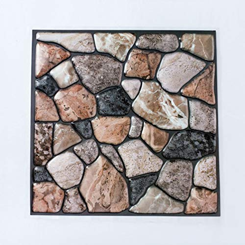 HETUI Papel Pintado Autoadhesivo PVC Impermeable Piedra Ladrillo Papel de Pared DecorLK-503 (Multicolor)
