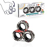 3PCS Magnetic Rings Fidget Toy Set, Idea ADHD Hand Exerciser Fidget Toys, Adult Fidget Magnets Spinner Rings for Anxiety Relief Therapy, Fidget Pack Great Gift for Adults Teens Kids