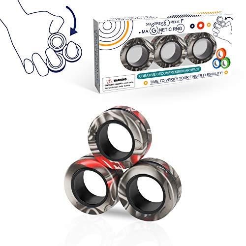3PCS Magnetic Rings Fidget Toy Set, Idea ADHD Hand Exerciser