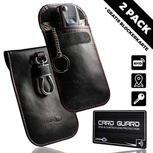 2X Keyless Go Schutz Autoschlüssel RFID Schutzhülle Funk Abschirmung Auto Schlüssel Blocker Tasche Etui für Autoschlussel Strahlen Diebstahlschutz