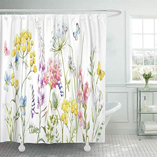 Cortinas de baño, Watercolor with Wildflowers Tansy Yellow Buttercup Blue Pansies Tender Pink Flowers and Butterflies Waterproof Shower Curtain Curtains Decorative Bathroom Odorless Eco Friendly