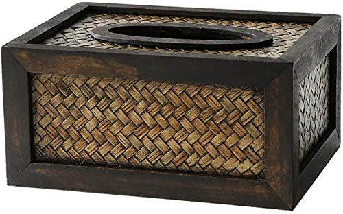 MUZIDP Caja de Tejido de bambú Retro Bandeja Negra Rectangular Sala de Estar de Madera Caja de servilleta de Cocina 21x15x8cm Caja de Tejido