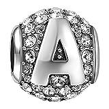 Soufeel Lettre A Alphabet Charm en Argent Sterling 925 Cristaux Swarovski pour Femme...