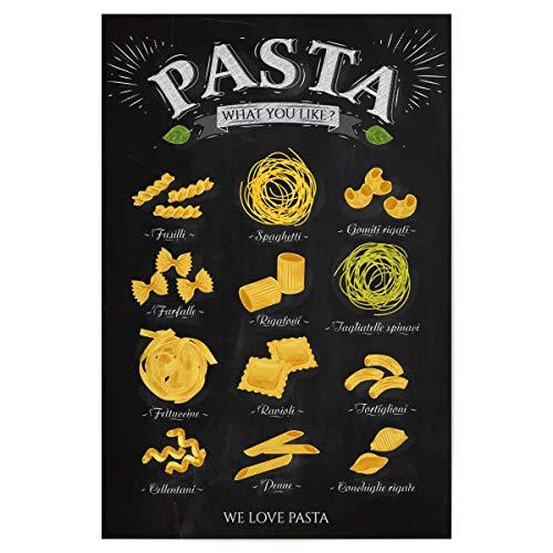 artboxONE Poster 30x20 cm Essen & Trinken We Love Pasta III - Bild Fusilli Spaghetti Gomiti rigati