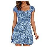 Liably Vestido de verano para mujer plisado con escote en forma de corazón, retro, elegante, línea A, vestido de ocio, sexy, vestido de fiesta azul S