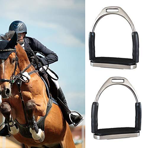 1 par de estribos de seguridad para montar a caballo, antideslizantes, plegables, de acero inoxidable, 12 x 13 cm.