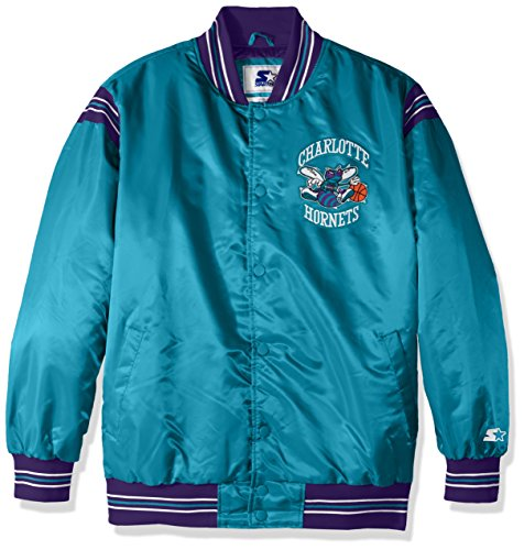 STARTER Adult Men The Enforcer Retro Satin Jacket NBA Charlotte Hornets, Teal, 5X