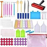 BEYAOBN 91 piezas 5D Kit de pintura de diamante,Accesorios de pintura de diamantes DIY con rodillo de pintura de diamantes y caja de bordado de diamantes para adultos o niños