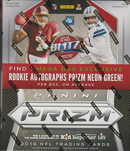 2019 Panini Prizm Football Sealed Mega Box with 10 packs (4 cards per pack) Look 1 Neon Green Rookie Autograph Auto Per Box on Average (that is not a guarantee). Chase Drew Lock and Kyler Murray Autos