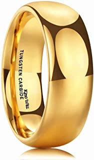 King Will Glory Men's 4mm 6mm 8mm Tungsten Carbide Ring 24k Gold Plated Domed Polished Finish Wedding Band