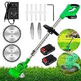 Decespugliatore elettrico a batteria con asta telescopica regolabile 21 V, con batteria e caricatore, con 3 tipi di coltelli da taglio per prato, cura del prato e giardino