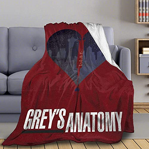 Grey's Anatomy Flannel Blanket Plush Throw Lightweight, Air Conditioning Quilt Fleece Super Soft for Couch Bed Sofa All Seasons L 50'x60'