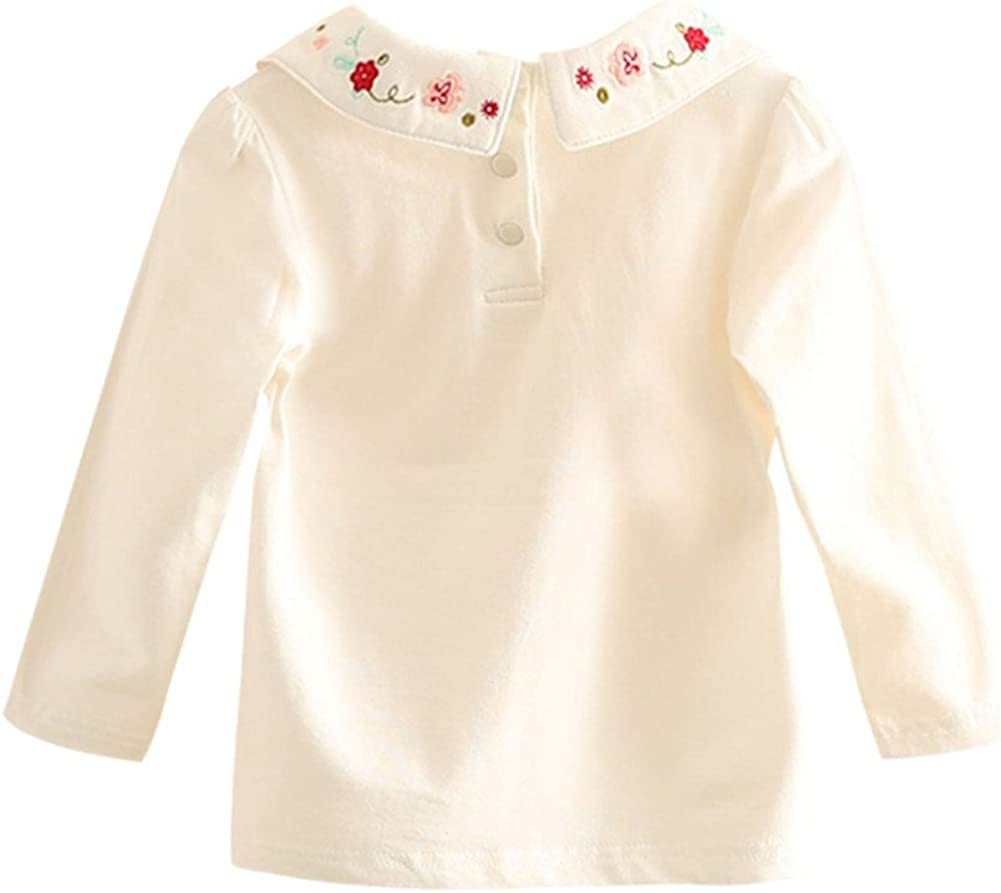 Mud Kingdom Little Girls Long Sleeve Cotton Embroidered T-Shirts Turn-Down Collar Layed Top